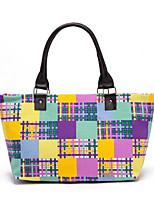 Women Shoulder Bag Linen All Seasons Round Zipper Rainbow