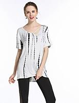 Tee-shirt Femme,Imprimé Vintage Eté Manches Courtes Col en V Polyester Moyen