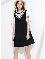 MEIDONGTAI Women's Daily Sheath DressSolid Round Neck Above Knee Short Sleeve Acrylic Summer Low Rise Inelastic Medium