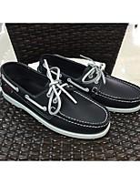 Men's Boat Shoes Comfort PU Spring Casual Comfort White Blue Burgundy Flat