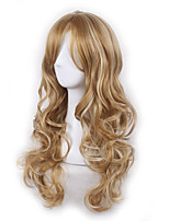 Blonde Scence Cospaly Wig Long Length Body Wave Natural Beauty Wig with Bang Mixed Color Heat Resistant Hot Style Cheap