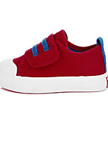 Girls' Flats First Walkers Canvas Spring Fall Outdoor Casual Walking Magic Tape Low Heel Red Navy Blue Black Flat