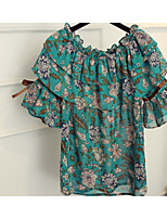 Women's Other Casual Simple Blouse,Floral Round Neck Short Sleeve Other
