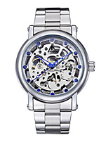 Муж. Часы со скелетом Модные часы Механические часы С автоподзаводом Защита от влаги Натуральная кожа Группа Серебристый металл