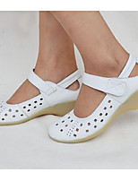 Women's Boat Shoes Comfort Cowhide Summer Fall Casual Comfort Wedge Heel White 1in-1 3/4in