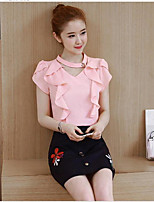 Women's Going out Casual/Daily Simple Street chic Shirt Skirt Suits,Solid V Neck Short Sleeve strenchy