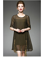 OYCP Women's Daily Sheath Dress,Solid Round Neck Above Knee Short Sleeve Polyester Summer High Rise Micro-elastic Thin