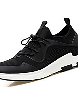 Men's Athletic Shoes PU Spring Fall Lace-up Flat Heel Black Black/White Black/Red Under 1in