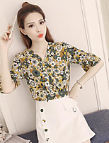 Women's Going out Cute Blouse,Floral V Neck ½ Length Sleeve Others