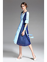 Feminino Bainha Vestido,Casual Simples Cores Variadas Decote V Altura dos Joelhos Manga 3/4 Poliéster Verão Cintura Média Sem Elasticidade