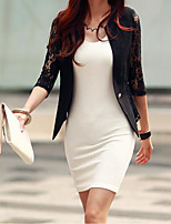 Women's Casual/Daily Street chic Summer Blazer,Print Square Neck Long Sleeve Regular Polyester