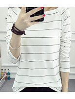 Women's Going out Casual/Daily Holiday Sexy Simple T-shirt,Solid Striped Boat Neck ¾ Sleeve Cotton Medium