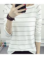 Tee-shirt Femme,Couleur Pleine Rayé Sexy simple Manches ¾ Bateau Coton Moyen