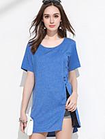 Tee-shirt Femme,Couleur Pleine simple Manches Courtes Col Arrondi Acrylique