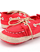 Baby Kids' Sneakers First Walkers Canvas Fall Winter Party & Evening Dress Casual Split Joint Lace-up Flat Heel Blue Red Black Flat