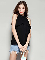 Women's Going out Casual/Daily Sexy Blouse,Solid Round Neck Sleeveless Cotton