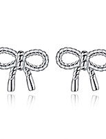 Stud Earrings Bow Sterling Silver Jewelry For Wedding Party Daily Casual 1 pair