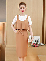 Women's Going out Cute Spring Summer T-shirt Skirt Suits,Solid Round Neck Short Sleeve Micro-elastic