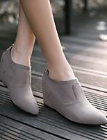 Damen Stiefel Komfort PU Frühling Herbst Lässig Keilabsatz Schwarz Grau 2,5 - 4,5 cm