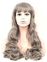 Grey Color Synthetic Hair Women Long Wavy Wig High Temperature 60cm Long Curly Wigs