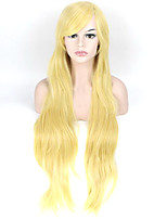 Blonde Synthetic Hair Women Long Wavy Wig High Temperature 80cm Long Curly Wigs