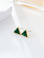 Women's Stud Earrings Emerald Simple Style Fashion Emerald Alloy Round Triangle Shape Jewelry ForWedding Congratulations Party/Evening