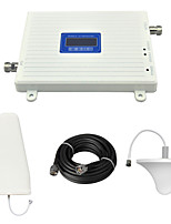 LCD Display 3G W-CDMA 2100Mhz Cell Phone Signal Booster UMTS Signal Repeater with Ceiling Antenna / Log Periodic Antenna / Cable / White
