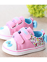 Girls' Flats Spring Fall First Walkers Fabric Outdoor Casual Walking Low Heel Magic Tape Blushing Pink Blue