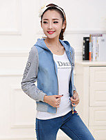Women's Casual/Daily Simple Fall Winter Denim Jacket,Color Block Round Neck Long Sleeve Regular Acrylic