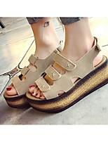 Girls' Flats Comfort Nubuck leather Spring Fall Casual Walking Comfort Magic Tape Low Heel Almond Black Flat