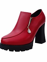 Women's Boots Comfort PU Spring Casual Red Black Flat