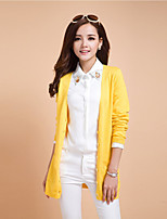 Women's Casual/Daily Simple Long Cardigan,Solid Square Neck Long Sleeve Cotton Spring Medium Micro-elastic