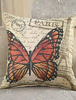 1 Pcs Classic Paris Eiffel Tower Pillow Case Vintage Butterfly Cotton/Linen Pillow Cover