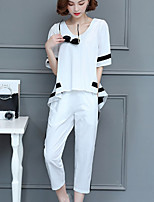 Women's Daily Casual Summer Shirt Pant Suits,Solid Crew Neck ½ Length Sleeve