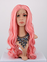 Pink Color Synthetic Lace Front Wigs Body Wave Hair heat Resistant Fiber Hair Wig for Woman