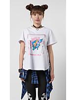 Damen Tier Texture Cartoon Design Einfach Niedlich Punk & Gothic Ausgehen Lässig/Alltäglich Athlässigkeit T-shirt,Rundhalsausschnitt