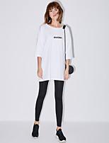 Feminino Simples Activo Cintura Média Elasticidade Alta Culotte Chinos Calças,Skinny Sólido Listrado