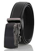 Men's Simple Crocodile Pattern Black Genuine Leather Alloy Automatic Buckle Waist Belt Work/Casual/Party All Seasons