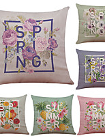 Set of 6 Creative Simple Flower Pattern Linen Pillowcase Sofa Home Decor Cushion Cover  Throw Pillow Case (18*18inch)