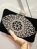 Women Evening Bag Velvet All Seasons Wedding Event/Party Party & Evening Baguette Sparkling Glitter Magnetic Ruby Black