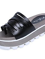 Women's Sandals Comfort PU Summer Casual Walking Split Joint Wedge Heel Gray Black White 3in-3 3/4in