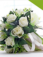 The Bride's Romantic White Rose With Flowers