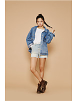 Women's Daily Soak Off Summer Denim Jacket,Floral Print Round Neck Long Sleeve Regular Polyester