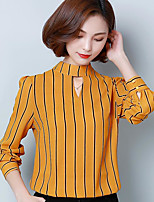 Women's Going out Vintage Blouse,Striped Round Neck Long Sleeve Others