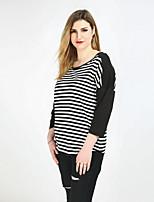 Tee-shirt Femme,Rayé Couleur Pleine Mosaïque Décontracté / Quotidien Vacances Grandes Tailles Sexy Vintage simple Printemps EtéManches