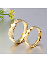Couple's Rings Band Rings Simple  Classic  Titanium Steel 18K gold Ring Jewelry For Wedding Party Anniversary 2PCS
