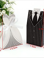 20 Bride Gift Box  20 Groom's Gift Box  40 Gift Box / 1 Group Of Stripe Dress Candy Box/Creative Suit Sweet Bag