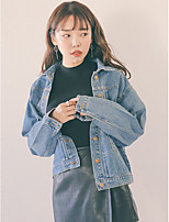 Women's Casual/Daily Vintage Fall Denim Jacket,Solid Peaked Lapel Long Sleeve Regular Others
