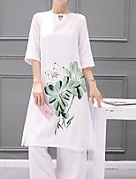 Для женщин На выход На каждый день Весна Лето Как у футболки Брюки Костюмыпросто Милые Уличный стиль С принтом С короткими рукавами