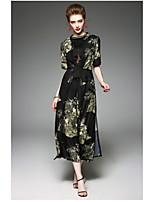 Для женщин Повседневные Весна/осень Пальто Круглый вырез,Современный Цветочный принт Длинная Длинный рукав,Полиэстер